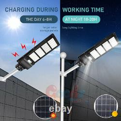 990000LM 250W Commercial Solar Street Light LED IP67 Dusk-to-Dawn Road Lamp+Pole
