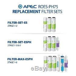 APEC WATER 6 Stage 75 GPD Alkaline Reverse Osmosis Water Filter System ROES-PH75