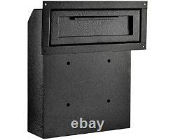 AdirOffice Black Coated Steel Through-The-Door Safe Locking Drop Box Mailbox