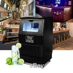 Black 99LBS Commercial Ice Maker Machines Cube Stainless Steel Bar Restaurant