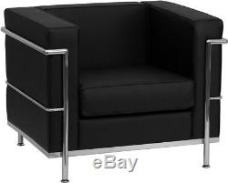 Black Leather-soft Le Corbusier Lc2 Lc3 Style Chair Stainless Frame Commercial