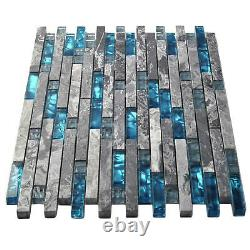 Box of 10 Marble Glass Tile Gray Marble Art Mosaic Blue Accent Backsplash Tiles