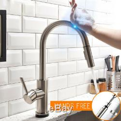 Brushed Nickel Pull Out Sensor Commercial Kitchen Sink Faucet Touch Control Tap