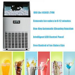 Built-in Commercial Ice Maker Stainless Steel Bar Restaurant Ice Cube Machine US