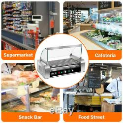 Commercial 18 Hot Dog Grill Cooker Machine Stainless steel 7 Roller With cover