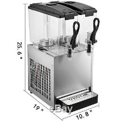 Commercial 2 Tanks 24L Frozen Juice Beverage Refrigerated Dispenser Cold Drink