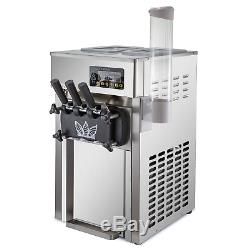 Commercial 3 Flavors Soft Ice Cream Machine LCD Display Stainless Steel 60Hz