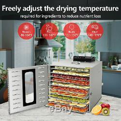 Commercial 6/10 Tray Stainless Steel Food Dehydrator Fruit Meat Jerky Dryer US