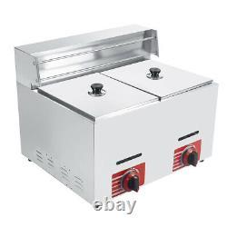 Commercial Countertop 2 Baskets 20L Gas Fryer GF-72 Propane(LPG) withMetal Tube