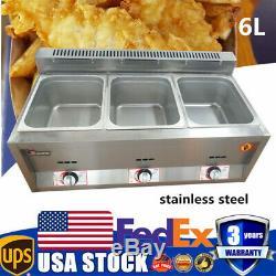Commercial Countertop Gas Fryer Deep Fryer 3 Wells Stainless Steel 6L Gas Fryer