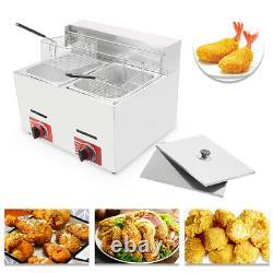 Commercial Countertop LPG Gas Fryer 2 Baskets Propane Stainless Steel Deep Fryer