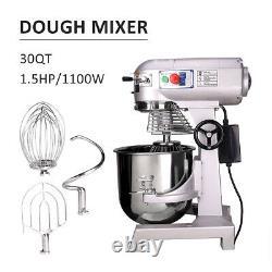 Commercial Dough Food Mixer 30 Quart 3 Speed 1100W Pizza Bakery Food Processor