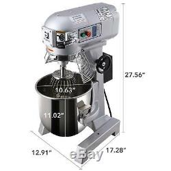 Commercial Dough Food Mixer Gear Driven 600W 15Qt Stainless Steel Pizza Bakery