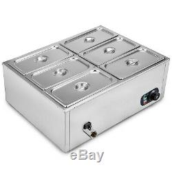 Commercial Food Warmer 6-Pan Buffet Steam Table Bain Marie 850W Stainless Steel