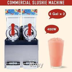 Commercial Frozen Drink Machine Slushie and Margarita Maker 2 x 4 Gal PC Tanks
