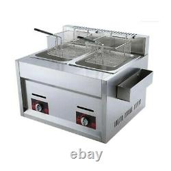 Commercial Gas Stainless Steel Double Tank Deep Fryer