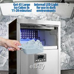 Commercial Ice Maker 99lb/24 Hours 33lb Storage Stainless Steel Finish
