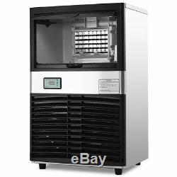 Commercial Ice Maker Automatic Stainless Steel 100lbs/24h Freestanding Portable