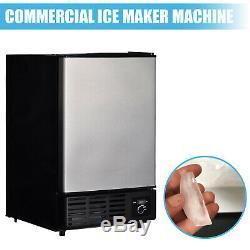 Commercial Ice Maker Undercounter Built-in Freezer Machine Stainless Steel Door