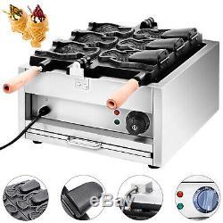 Commercial Nonstick 110V Electric 3pcs Fish Waffle Taiyaki Maker Baker Iron