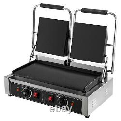 Commercial Panini Press Grill Electric Grill Griddle 3600W Double Plate Flat SUS