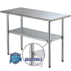 Commercial Prep & Work Table 24x48 Stainless Steel Food Kitchen Restaurant