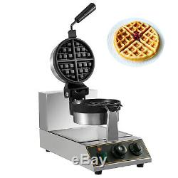 Commercial Round Waffle Maker Belgian Nonstick Rotated 1100W Electric 110V Steel