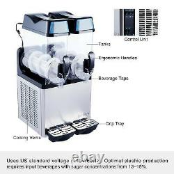 Commercial Slushie Machine Beverage Making 500W Stainless Steel Frozen Drink 24L