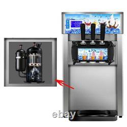 Commercial Soft Ice Cream 3 Flavor Steel Frozen Yogurt Cone Maker Machine USA