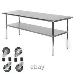Commercial Stainless Steel Kitchen Food Prep Work Table with 4 Casters 30 x 72