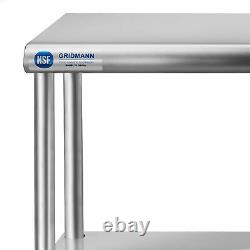 Commercial Stainless Steel Kitchen Prep Table Wide Double Overshelf 12 x 48