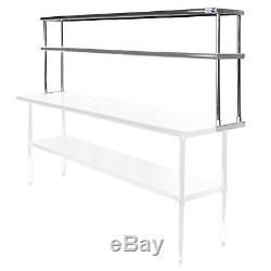 Commercial Stainless Steel Kitchen Prep Table Wide Double Overshelf 30 x 72