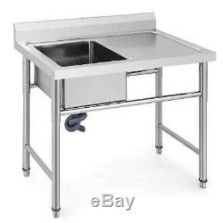 Commercial Stainless Steel Kitchen Utility Sink with Drainboard 39 wide Handmade