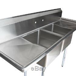 Commercial Stainless Steel Two 2 Compartment Sink 56x22 Bowl Size 14x16