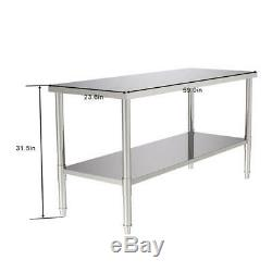 Commercial Stainless Steel Work Table 24x60 Food Prep Kitchen Restaurant Table