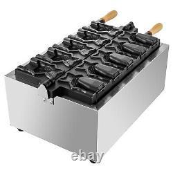 Commercial Taiyaki Maker Fish Waffle Iron Baker Machine Electric Nonstick 5Pcs