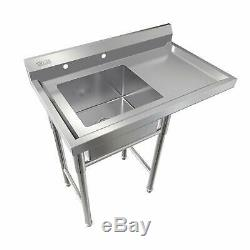 Commercial Utility Stainless Steel Sink Silver 37 L x 22.44W x 40H Versatile