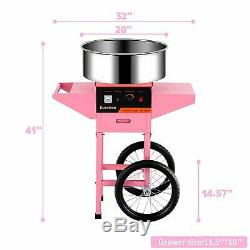 Cotton Candy Machine Electric Commercial Candy Floss Maker with Cart 20'' Pink