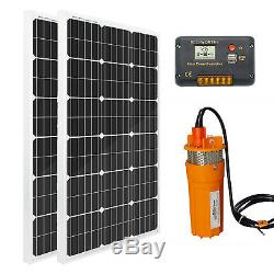 DC 24V Deep Well Submersible Water Pump Off Grid System Kit 200W Solar Panel