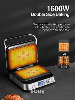 Double Waffle Maker Belgian Commercial Electric Machine Nonstick Iron Square NEW