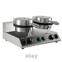 Double-head Commercial Round Waffle Maker Machine Nonstick Temp & Time Control