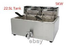 Electric Commercial 5KW Deep Fryer Big Single Tank With 2 Baskets & Drain Taps