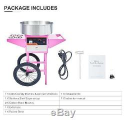 Electric Commercial Cotton Candy Machine Candy Floss Maker SS With Cart Pink