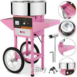 Electric Commercial Cotton Candy Machine / Floss Maker Pink Cart Stand