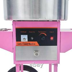 Electric Cotton Candy Machine Commercial Sugar Floss Maker With Cart Pink SS