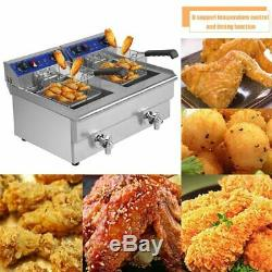 Electric Countertop Deep Fryer Tank Commercial Restaurant Steel with Nozzle BR