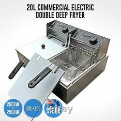 Electric Double Deep Fryer 20L Commercial Bench Top Single Stainless Steel