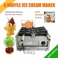 Fish Waffle Ice Cream Taiyaki Maker Baker 3pcs Electric 2KW Nonstick Commercial