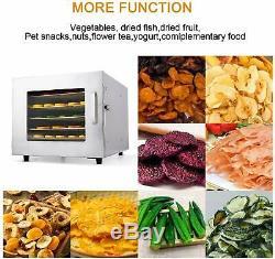 Food Dehydrator 6 Tier Stainless Steel-Fruit Jerky Meat Dryer Blower Commercial