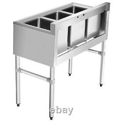 Giantex NSF Stainless Steel Utility Sink 3 Compartment Commercial Sink Sillver